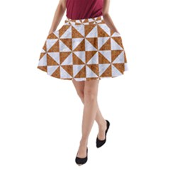 Triangle1 White Marble & Rusted Metal A Line Pocket Skirt