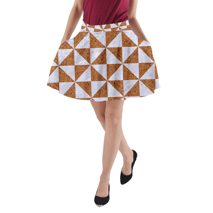 TRIANGLE1 WHITE MARBLE & RUSTED METAL A-Line Pocket Skirt