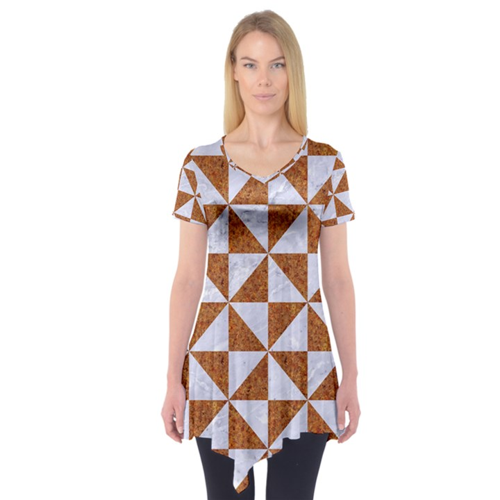 TRIANGLE1 WHITE MARBLE & RUSTED METAL Short Sleeve Tunic