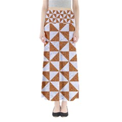 Triangle1 White Marble & Rusted Metal Full Length Maxi Skirt