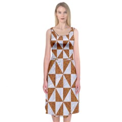 Triangle1 White Marble & Rusted Metal Midi Sleeveless Dress