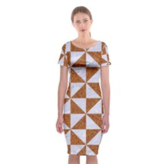 Triangle1 White Marble & Rusted Metal Classic Short Sleeve Midi Dress