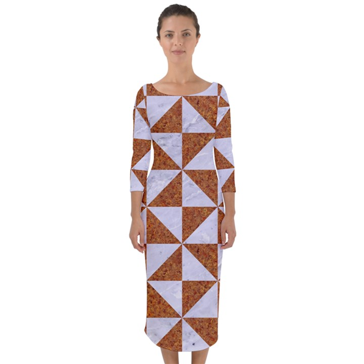 TRIANGLE1 WHITE MARBLE & RUSTED METAL Quarter Sleeve Midi Bodycon Dress