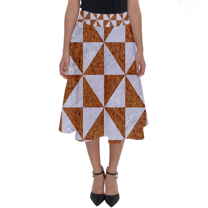 TRIANGLE1 WHITE MARBLE & RUSTED METAL Perfect Length Midi Skirt