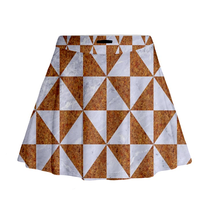 TRIANGLE1 WHITE MARBLE & RUSTED METAL Mini Flare Skirt