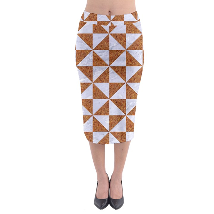 TRIANGLE1 WHITE MARBLE & RUSTED METAL Midi Pencil Skirt