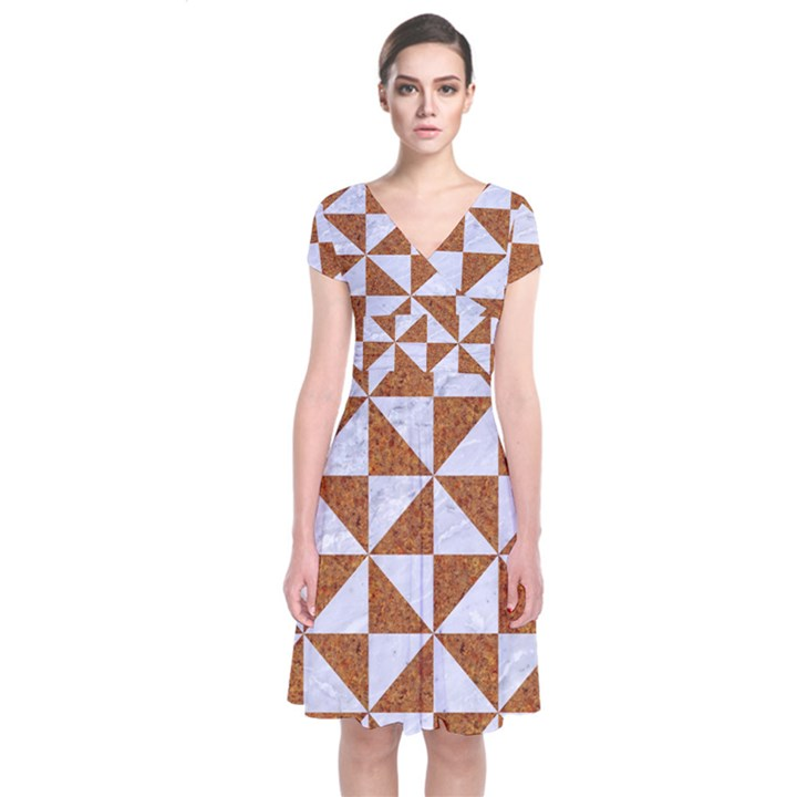 TRIANGLE1 WHITE MARBLE & RUSTED METAL Short Sleeve Front Wrap Dress