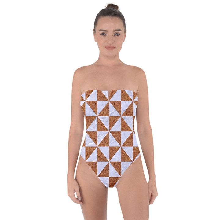 TRIANGLE1 WHITE MARBLE & RUSTED METAL Tie Back One Piece Swimsuit