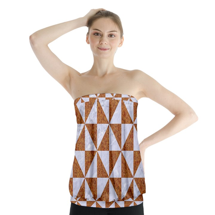 TRIANGLE1 WHITE MARBLE & RUSTED METAL Strapless Top