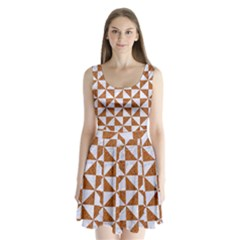 Triangle1 White Marble & Rusted Metal Split Back Mini Dress