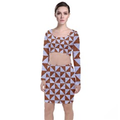 Triangle1 White Marble & Rusted Metal Long Sleeve Crop Top & Bodycon Skirt Set
