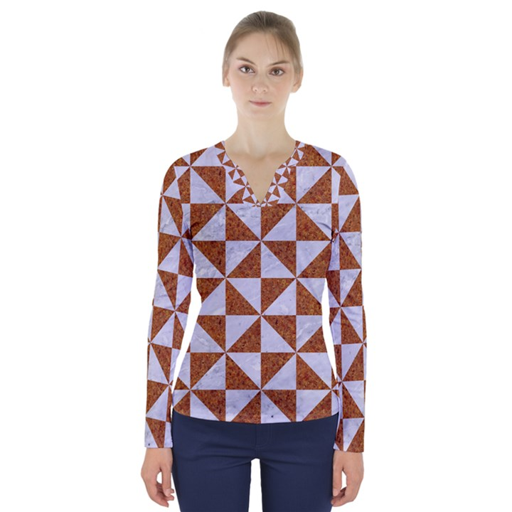 TRIANGLE1 WHITE MARBLE & RUSTED METAL V-Neck Long Sleeve Top