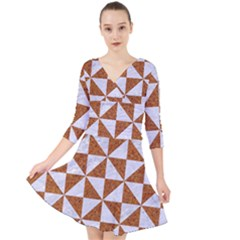 Triangle1 White Marble & Rusted Metal Quarter Sleeve Front Wrap Dress