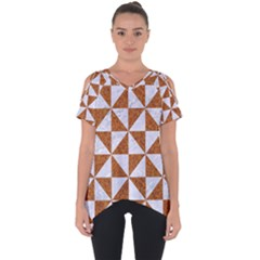 Triangle1 White Marble & Rusted Metal Cut Out Side Drop Tee