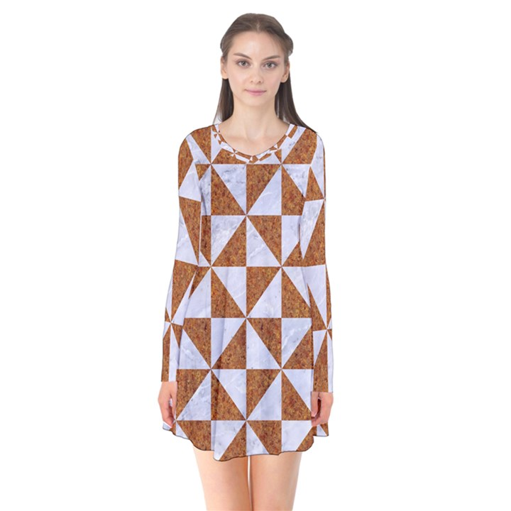 TRIANGLE1 WHITE MARBLE & RUSTED METAL Flare Dress