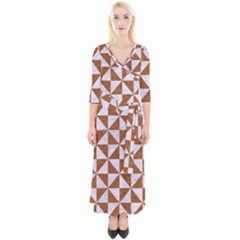 Triangle1 White Marble & Rusted Metal Quarter Sleeve Wrap Maxi Dress