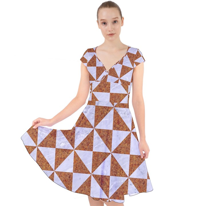 TRIANGLE1 WHITE MARBLE & RUSTED METAL Cap Sleeve Front Wrap Midi Dress