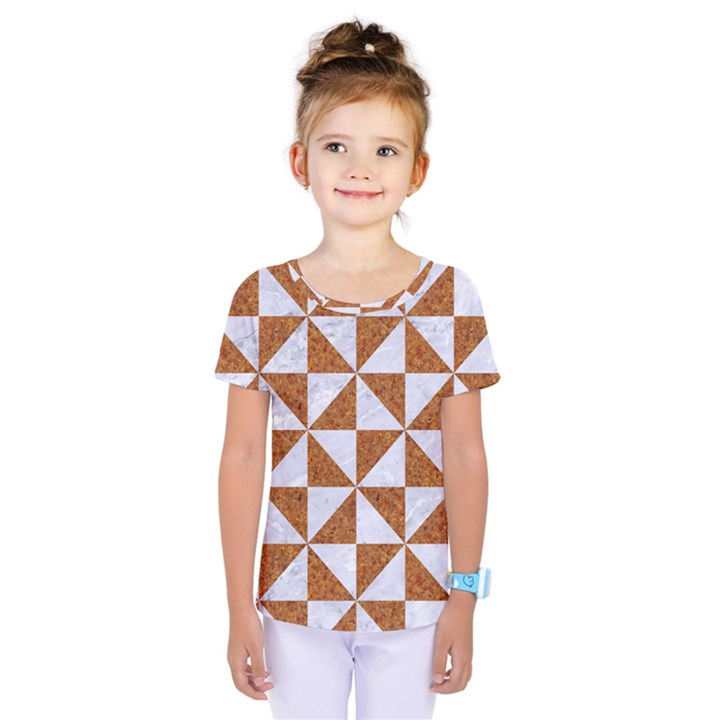 TRIANGLE1 WHITE MARBLE & RUSTED METAL Kids  One Piece Tee