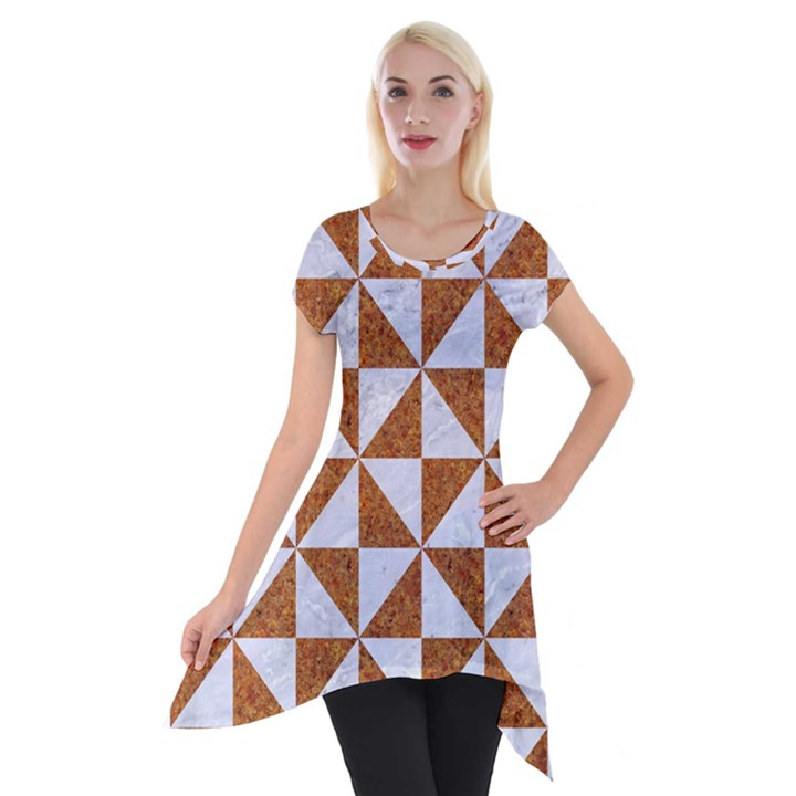 TRIANGLE1 WHITE MARBLE & RUSTED METAL Short Sleeve Side Drop Tunic