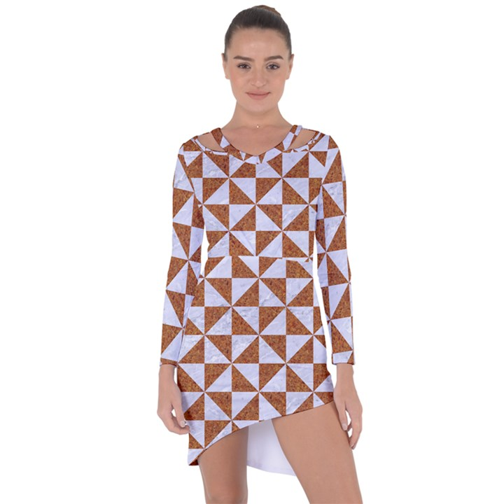 TRIANGLE1 WHITE MARBLE & RUSTED METAL Asymmetric Cut-Out Shift Dress