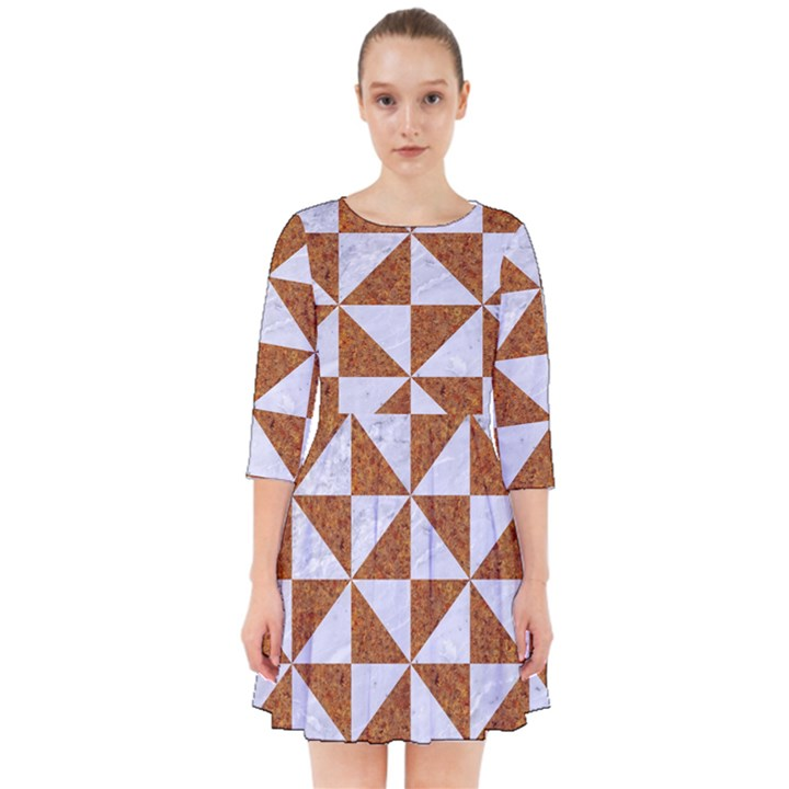 TRIANGLE1 WHITE MARBLE & RUSTED METAL Smock Dress
