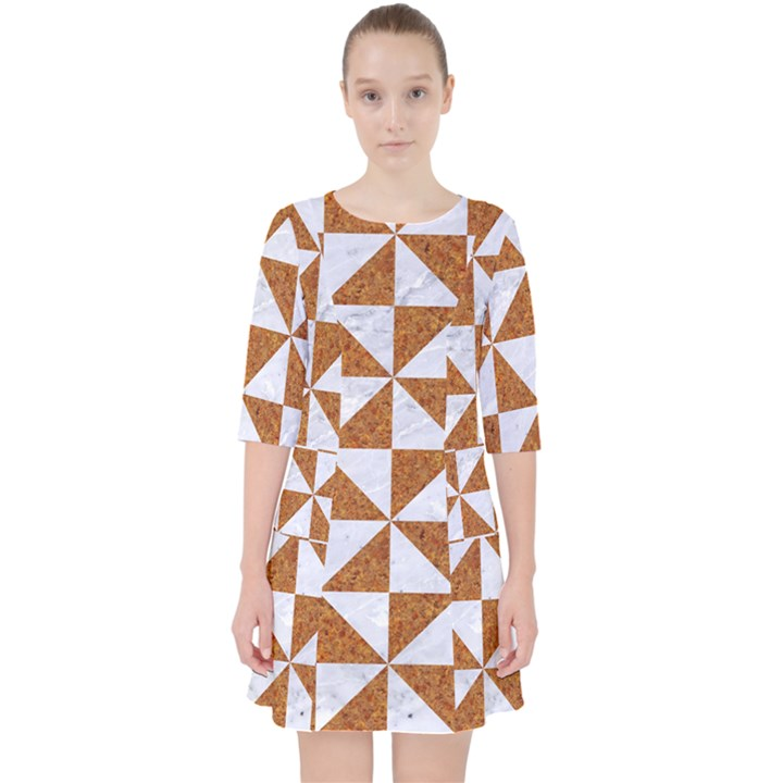 TRIANGLE1 WHITE MARBLE & RUSTED METAL Pocket Dress
