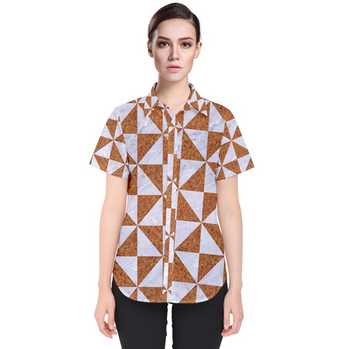 TRIANGLE1 WHITE MARBLE & RUSTED METAL Women s Short Sleeve Shirt