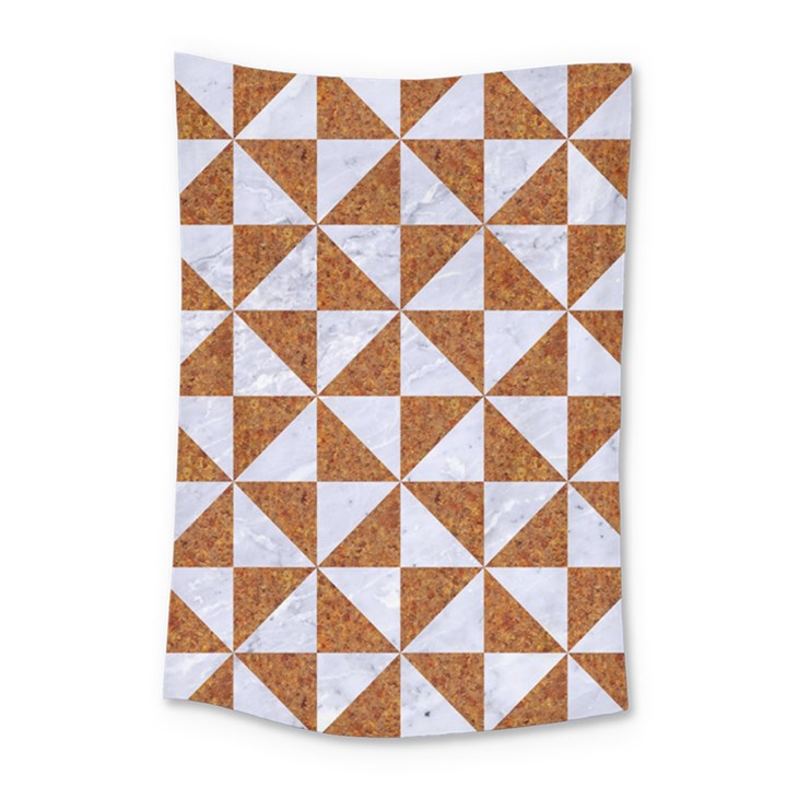 TRIANGLE1 WHITE MARBLE & RUSTED METAL Small Tapestry