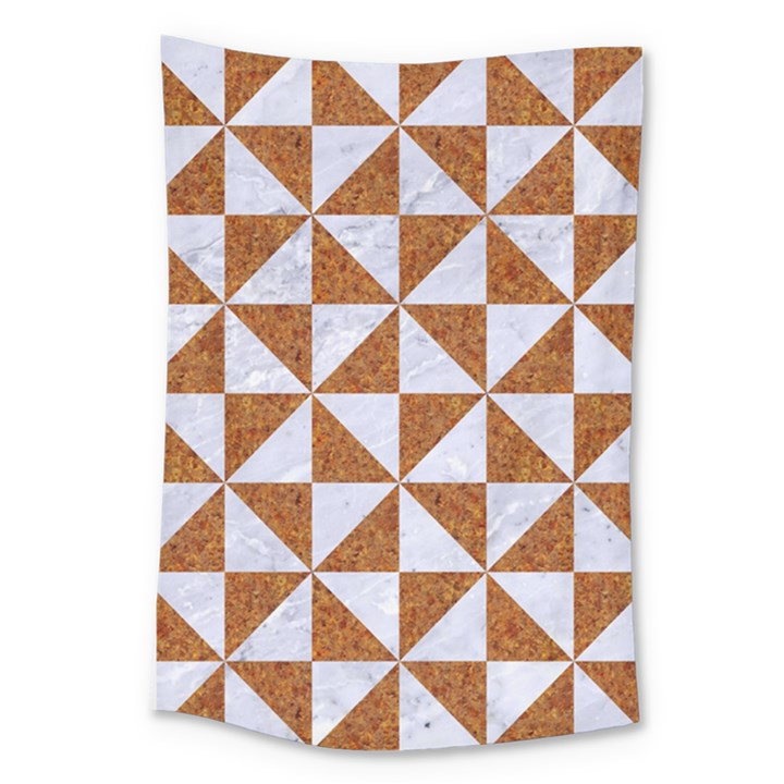 TRIANGLE1 WHITE MARBLE & RUSTED METAL Large Tapestry