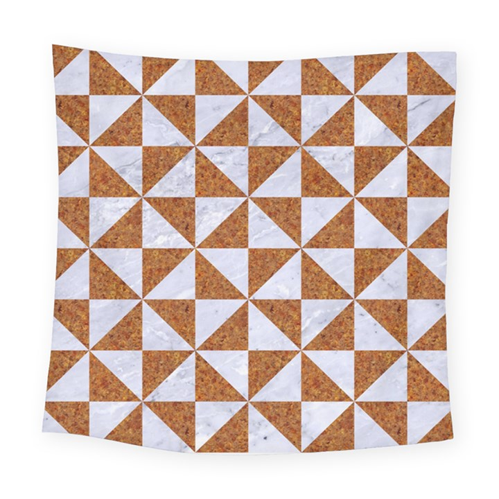TRIANGLE1 WHITE MARBLE & RUSTED METAL Square Tapestry (Large)