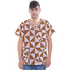 Triangle1 White Marble & Rusted Metal Men s V Neck Scrub Top