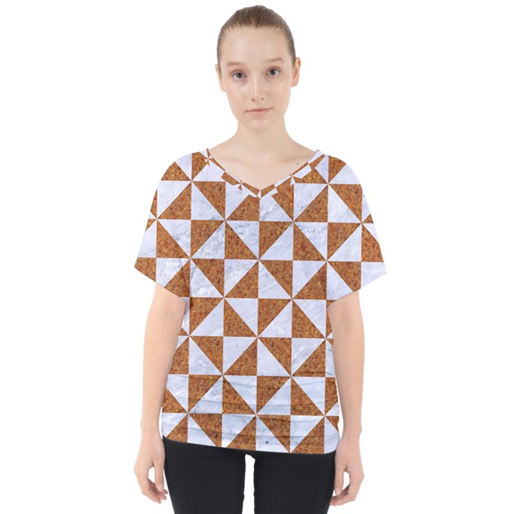 TRIANGLE1 WHITE MARBLE & RUSTED METAL V-Neck Dolman Drape Top