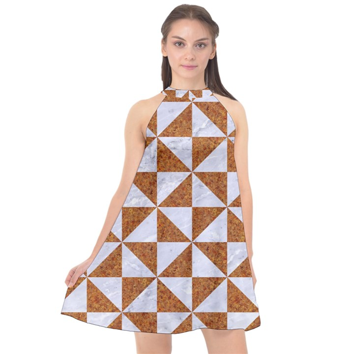 TRIANGLE1 WHITE MARBLE & RUSTED METAL Halter Neckline Chiffon Dress