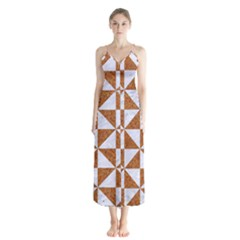 Triangle1 White Marble & Rusted Metal Button Up Chiffon Maxi Dress