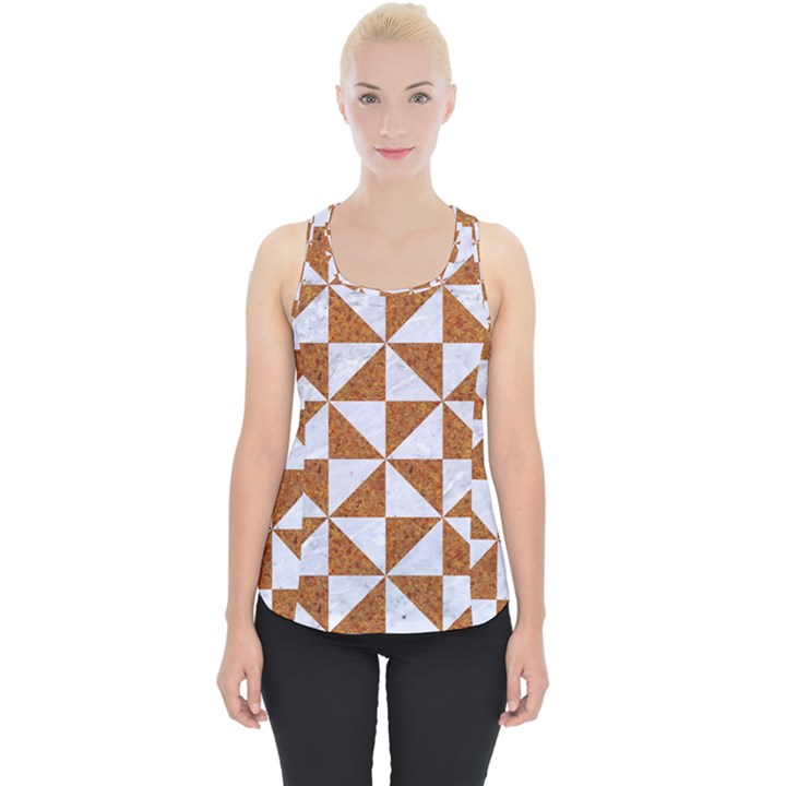 TRIANGLE1 WHITE MARBLE & RUSTED METAL Piece Up Tank Top