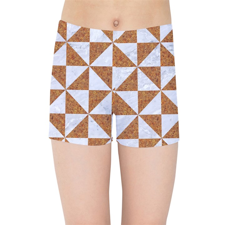 TRIANGLE1 WHITE MARBLE & RUSTED METAL Kids Sports Shorts