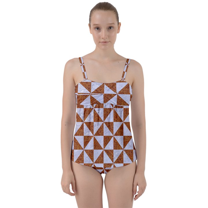 TRIANGLE1 WHITE MARBLE & RUSTED METAL Twist Front Tankini Set