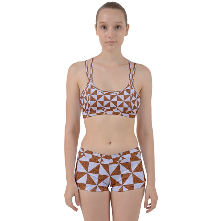TRIANGLE1 WHITE MARBLE & RUSTED METAL Women s Sports Set