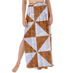 Triangle1 White Marble & Rusted Metal Maxi Chiffon Tie Up Sarong