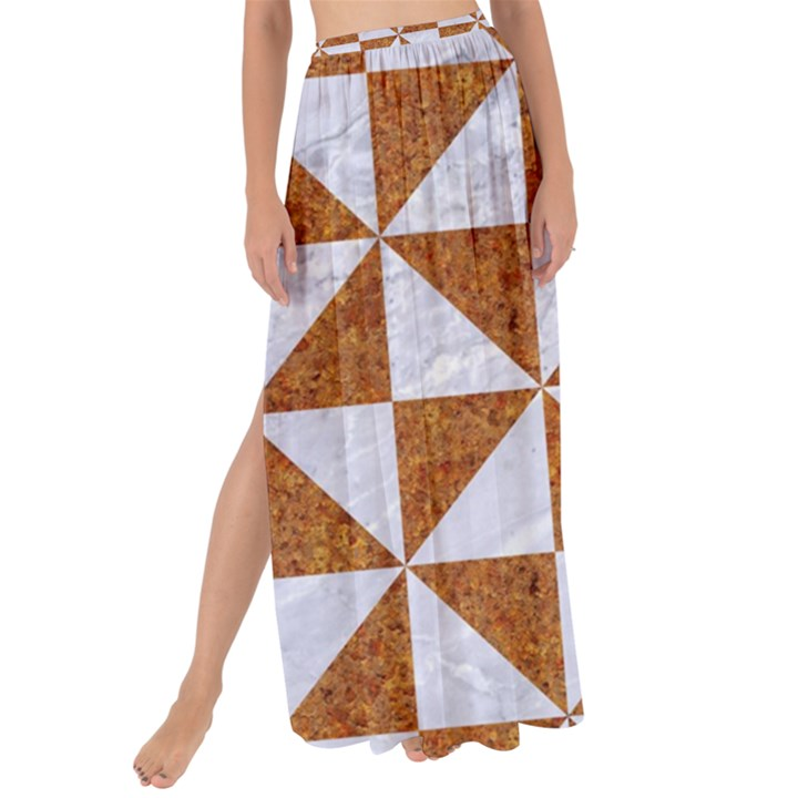 TRIANGLE1 WHITE MARBLE & RUSTED METAL Maxi Chiffon Tie-Up Sarong