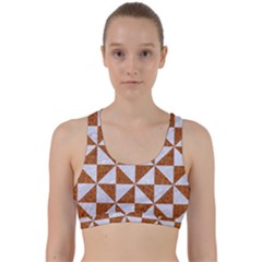 Triangle1 White Marble & Rusted Metal Back Weave Sports Bra