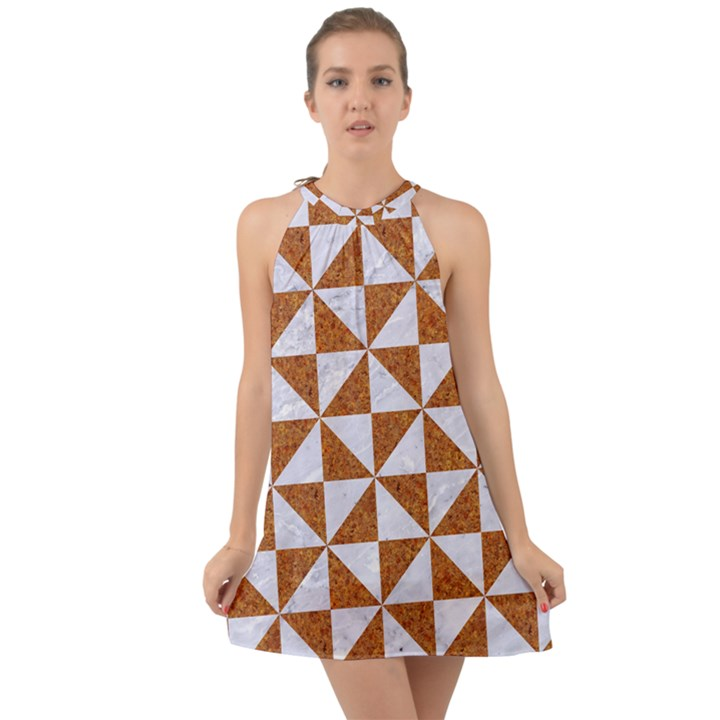 TRIANGLE1 WHITE MARBLE & RUSTED METAL Halter Tie Back Chiffon Dress