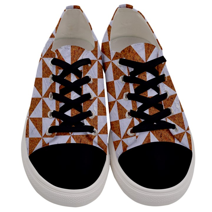 TRIANGLE1 WHITE MARBLE & RUSTED METAL Men s Low Top Canvas Sneakers