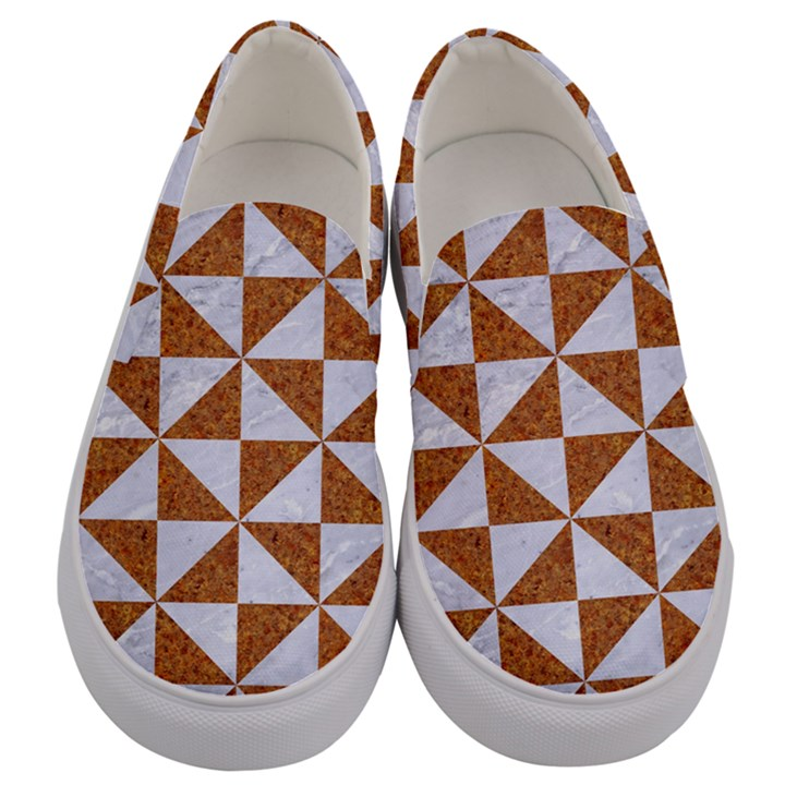 TRIANGLE1 WHITE MARBLE & RUSTED METAL Men s Canvas Slip Ons