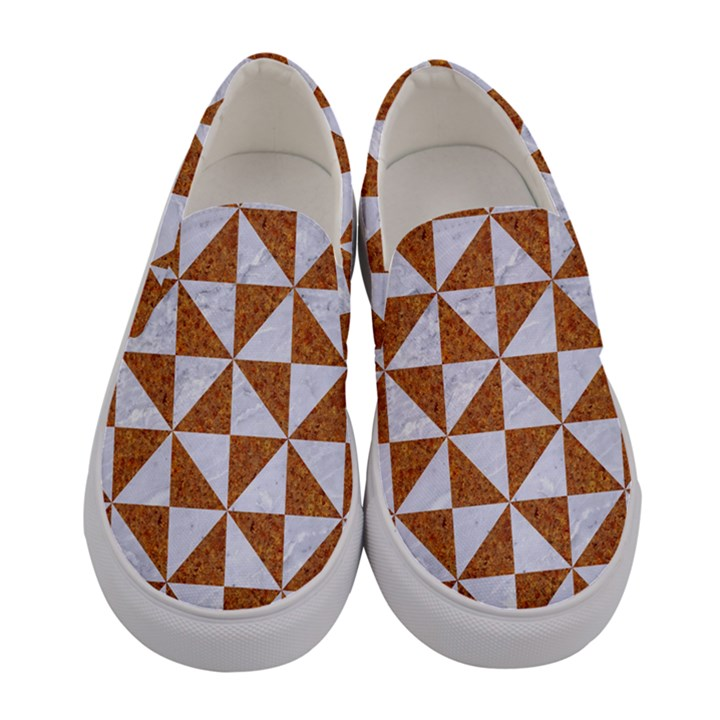 TRIANGLE1 WHITE MARBLE & RUSTED METAL Women s Canvas Slip Ons