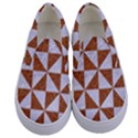 TRIANGLE1 WHITE MARBLE & RUSTED METAL Kids  Canvas Slip Ons View1
