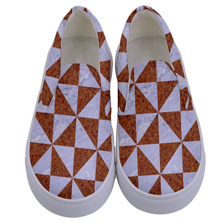TRIANGLE1 WHITE MARBLE & RUSTED METAL Kids  Canvas Slip Ons