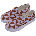 TRIANGLE1 WHITE MARBLE & RUSTED METAL Kids  Canvas Slip Ons View2