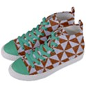 TRIANGLE1 WHITE MARBLE & RUSTED METAL Women s Mid-Top Canvas Sneakers View2