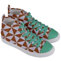 TRIANGLE1 WHITE MARBLE & RUSTED METAL Women s Mid-Top Canvas Sneakers View3